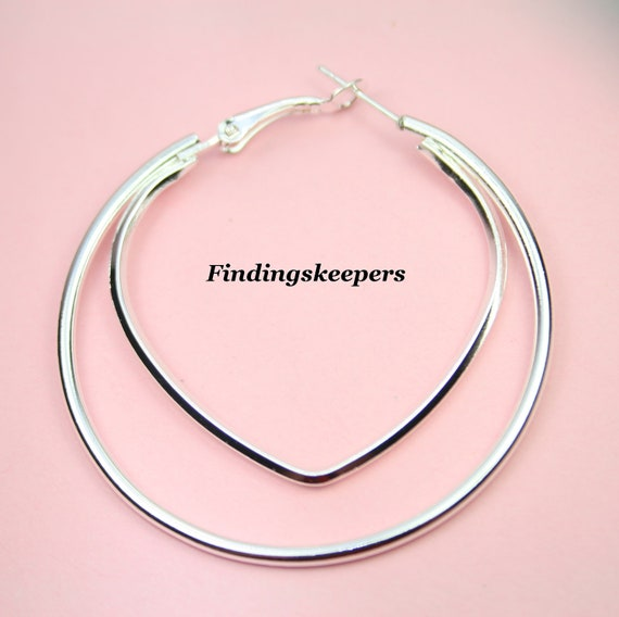 4 -  Silver plate 50 mm Silver Plated Hoops Earring Finding ew039
