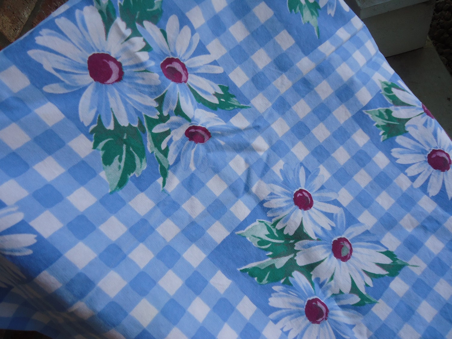 Wilendur Shasta Daisy Tablecloth Summer Blue By Cherrypickins