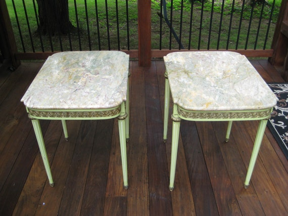 Set of two Vintage French Marble  tables with decorative mounts