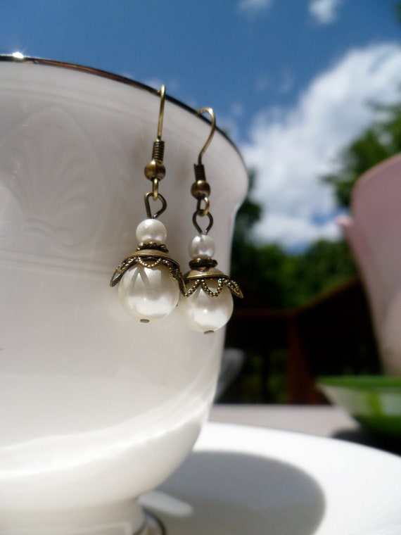 Pearl Dangle Earrings with Bronze Accents