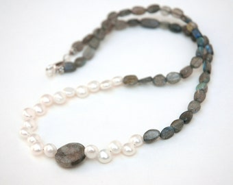 Labradorite Necklace, Pearl necklace, Semiprecious stone, Sterling silver Jewelry , Gift for her
