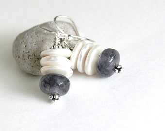 White pearl Earrings, Gray Cloudy Quartz, Gemstone earrings, Semiprecious, Dangle earrings, Gift for her, Sterling silver, Jewelry