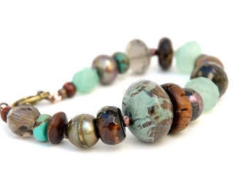 Gemstone Bracelet, chunky, Semiprecious, Statement, Bold, Aqua Green, Smoky Quartz, Earth tone, Brass Jewelry,  Jasper, Freshwater pearl