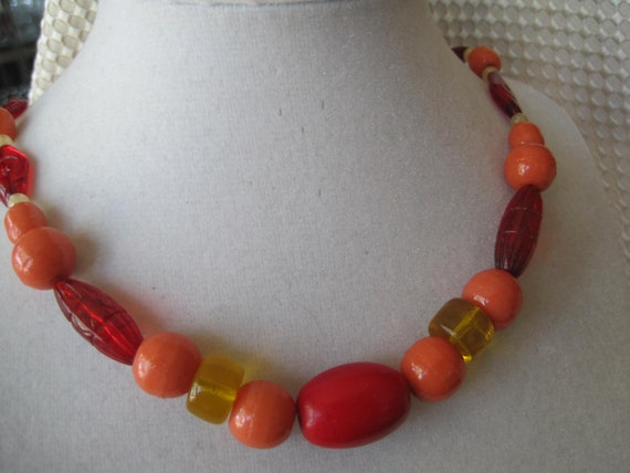 Vintage Red Coral Glass Bead Necklace