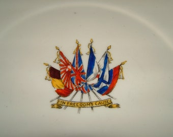 E Hughes WWI Plate World War One Plate WWI Ceramic- In Freedom's Cause Vintage Military WWI Souvenir