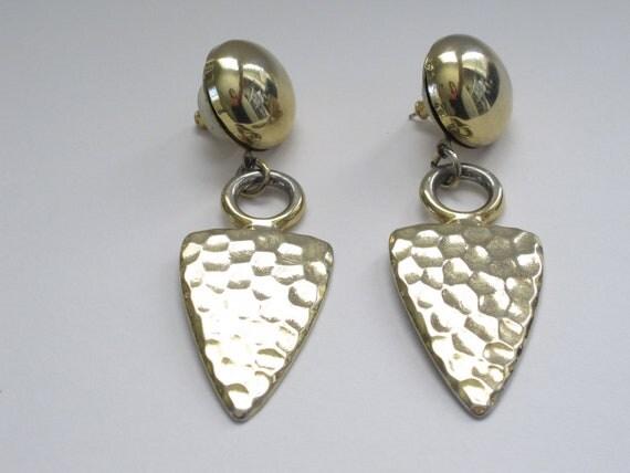 Vintage Earrings, Arrow Earrings, Gold Earrings