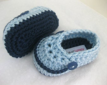 Baby Boy Shoes Navy Blue Crochet - YOUR choice size newborn - 12 months - photo prop - crochet