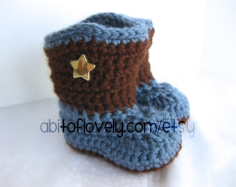 Baby Boy, Boots, Shoes, Cowboy, Newborn, Infant, Slippers, Booties, Brown, Blue, Newborn Photos, Photo Prop