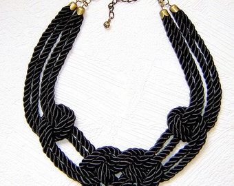 FREE SHIPPING. Black sailor knot necklace. Silk rope.