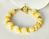 Yellow Bracelet Beaded Handmade Bracelet with Gold Pewter Rondelles