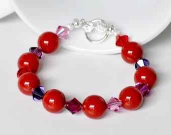 Red Pearl Bracelet Handmade Beaded Jewelry with Swarovski Pearls and Crystals