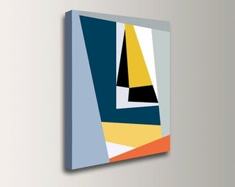 "Modern Art Print - Yellow, Blue and Grey - Geometric Art - Abstract Print - ""Check Mark"""