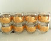 Vintage Roly Poly Cocktail Bar Glasses Gold Band Barware Large Set of 8