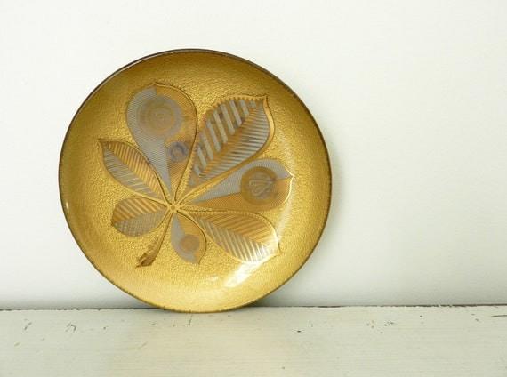 Vintage Georges Briard Round Gold Glass Dish Heritance Design 1959