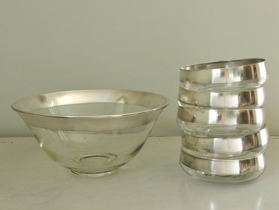 Authentic Dorothy Thorpe Silver Band Glass Salad Serving Bowl Set Sterling Silver Banding