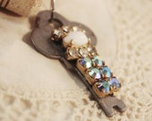 RESERVED FOR MLEA1203 Wine Cork Keychain Vintage Key - Aqua Blue and Turquoise Rhinestone Chain