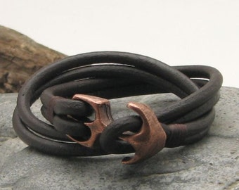 EXPRESS SHIPPING Unisex leather bracelet. Dark brown wrap leather bracelet with copper plated anchor clasp.