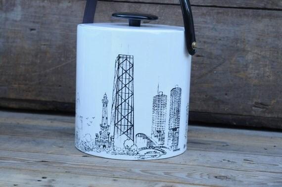 Vintage Chicago Ice Bucket Black And White Ice Bucket Chicago Skyline 1970s