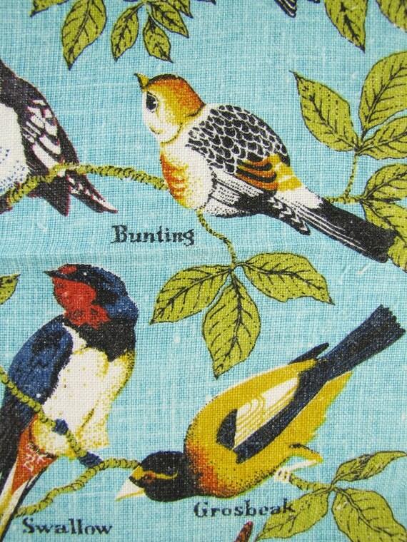 Vintage Linen Tea Towel- Wild Birds on Robin Egg Blue Background