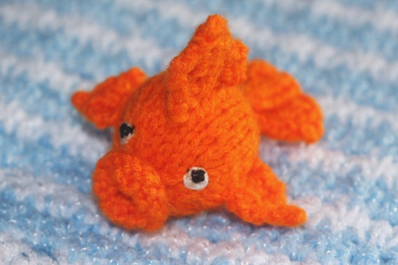 Miniature Knitted Goldfish Doll Toy - Amigurumi Animal - Small Knit Gold Fish
