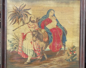 Antique framed Berlin woolwork embroidery of Baby Jesus, Mary and Joseph late 1800's
