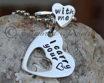 I carry your heart set - His and hers set - Pendant ring set - Dog tag ring set