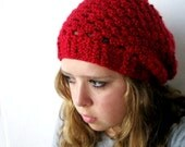 Dark Red Slouch Beanie