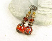 Copper Orange Earrings - Gift for her - Christmas gifts