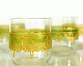 Moroccan Styled Set of 4 Tumbler Glasses, Wrapped in Varying Shades of Green Tint with Golden Detailing