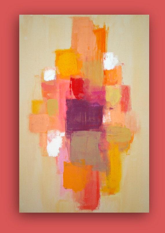 "Abstract Acrylic Painting Original Fine Art on Gallery Canvas Orange, Pink, Yellow Titled: Strawberry Lemonade 24x36x1.5"" by Ora Birenbaum"