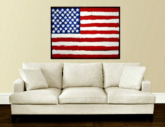 """Original Red White and Blue American Flag Painting Fine Art Acrylic Abstract on Galllery Canvas Titled: LIBERTY 30x40x1.5"""" by Ora Birenbaum"""