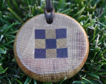 Wood Pendant with concave carve J9