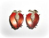 RESERVED Moonglow Fruit Clip On Vintage Earrings signed Lisner