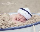 Baby Sailor Hat - Navy Hat Photo Prop - Newborn - Littlest Hero Collection