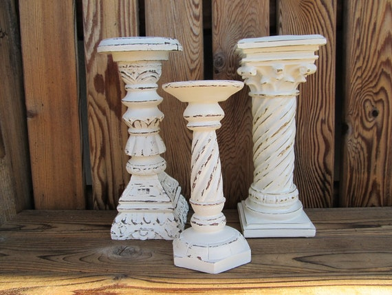 Three Piece Shabby Chic Pillar Candle Holders Antique White