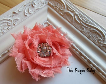 Coral Hair Flower Shabby chiffon rosette with crystal button. Wedding Bridal Flower Girl. Photo Prop Toddlers Girls Women