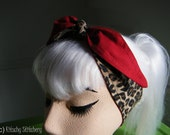 Rockabilly Cheetah Print/Solid Red Pin up style Headband / Hair Scarf/ Hair Tie/ Neck Scarf.