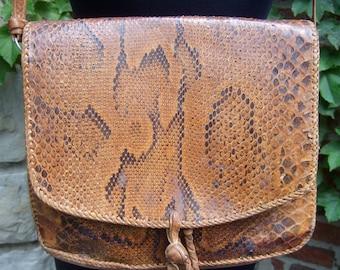 Genuine Python Southwestern Rustic Style Handbag  c 1970