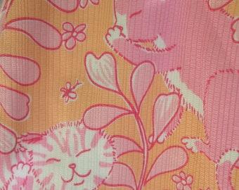 LILLY PULITZER Whimsical Feline Print Cotton Vintage Slacks