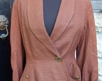 1940s Brown Plaid Wool Womens Jacket