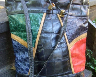 1980s Embossed Reptile Leather Shoulder Bag