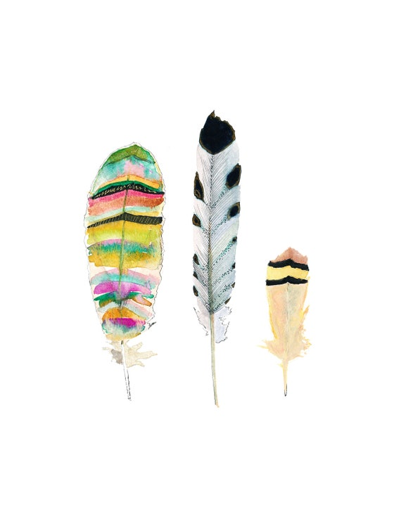 Feathers Archival Print Watercolor Feathers By Snoogsandwilde
