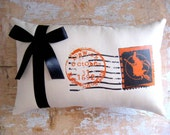 Halloween Pillow, Witch, Halloween Decor, French Decor, Cottage Decor, Home Decor, Housewares, Decorative Pillow