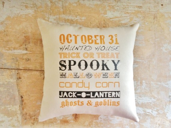 Halloween Pillow, Trick or Treat, Subway Art, Fall Pillow, Halloween Decor