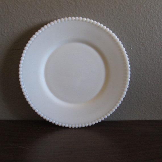 Vintage Milk glass beaded edge plate