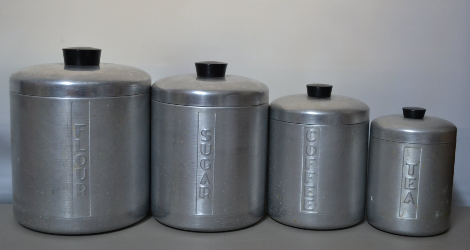 Vintage aluminum canister set of 4 for Toko aluminium kitchen set