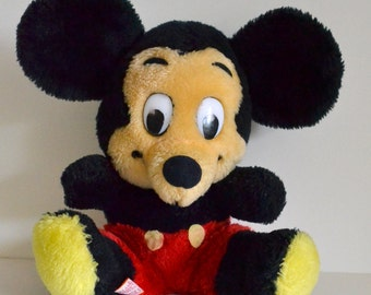 """Vintage Mickey Mouse Stuffed Plush 8"""" Disney Collectible. Disneyland circa 1980s 80s. Great Condition. Eco Friendly Shipping. Love!"""
