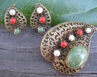 Vintage Filigree Brooch and Earring Set With Stones and Faux Pearls
