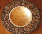 Wooden bowl decorated with pyrography, paint and gold leaf