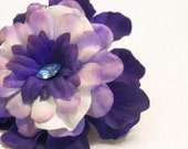 Rockabilly Flower Hair Clip, Blue and Purple, Free Shipping Sale